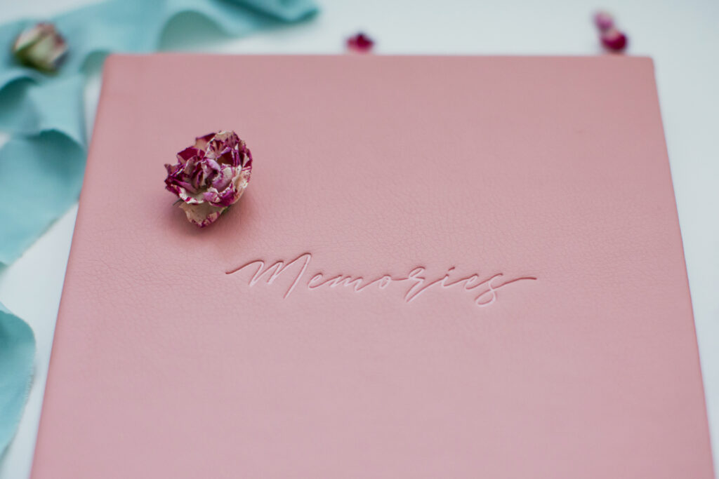 Pink leather book or album for photos