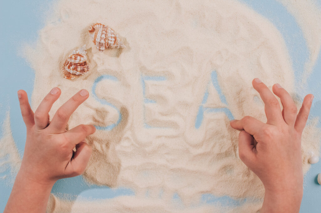 Child's hands playing with sea shells and sand - Montessori education concept. Fine motoric skills or attention training exercises. Educational toys, cognitive and motor development. Selective focus